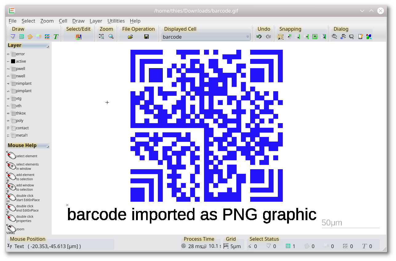 import of a PNG graphic