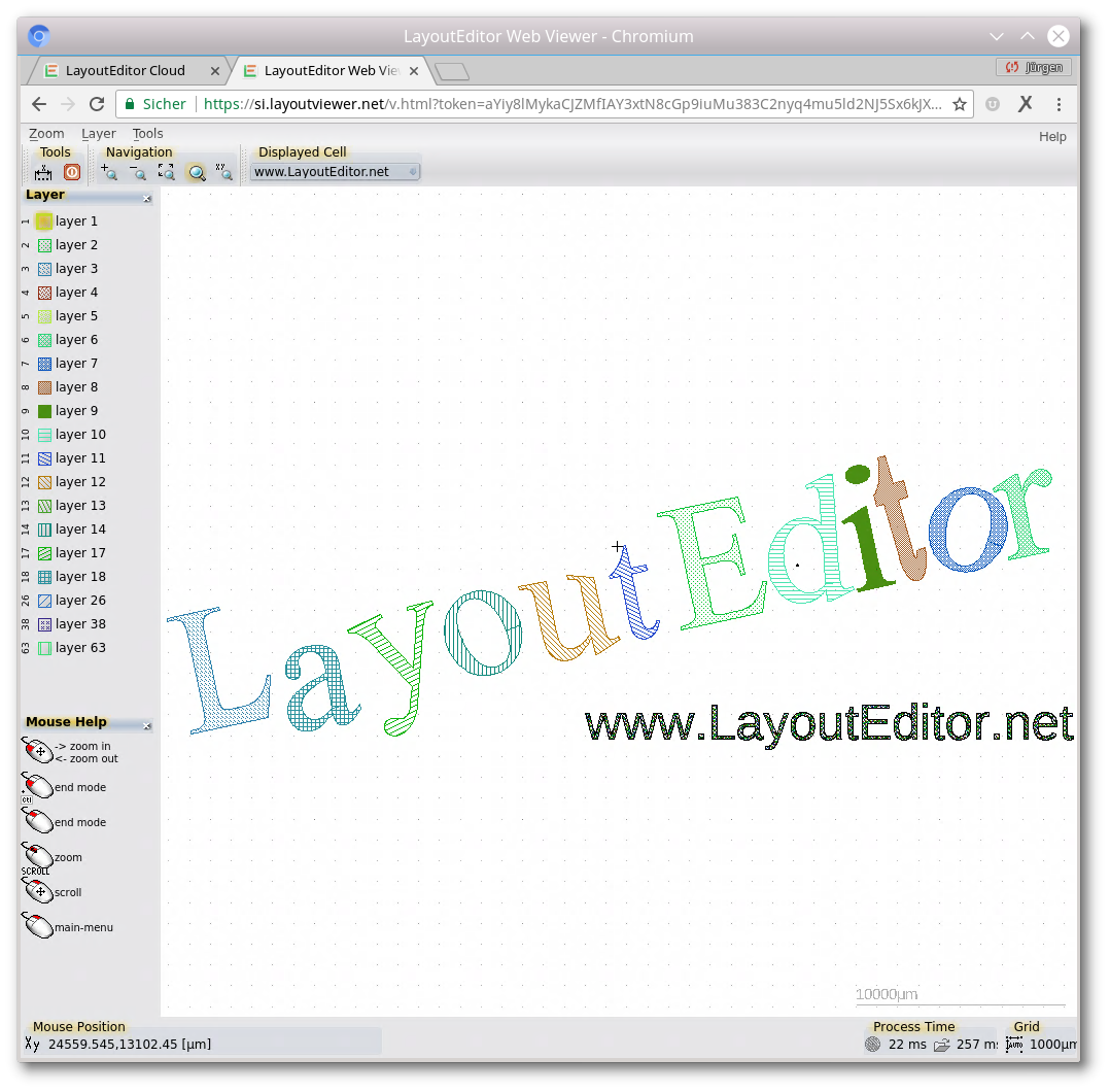 layout viewer in a browser